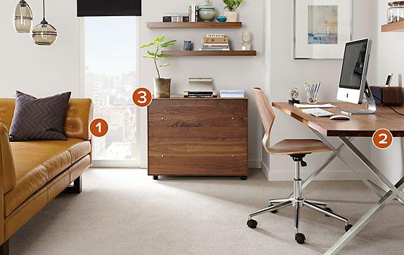 Penn Desk with Hudson Rolling File Cabinet