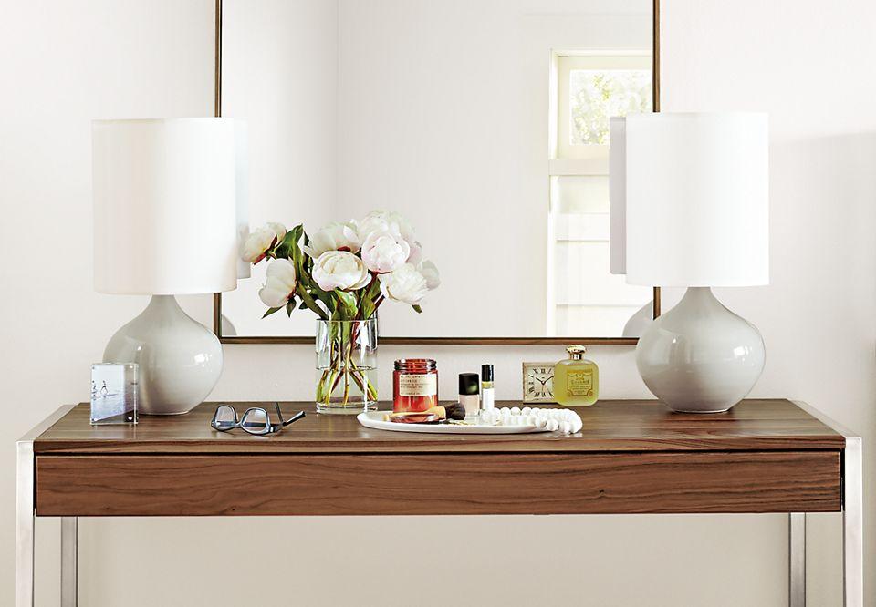 Hudson mirror above desk in bedroom