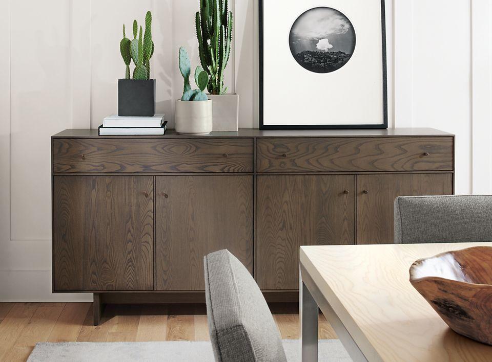 Hudson four-door two-drawer storage cabinet