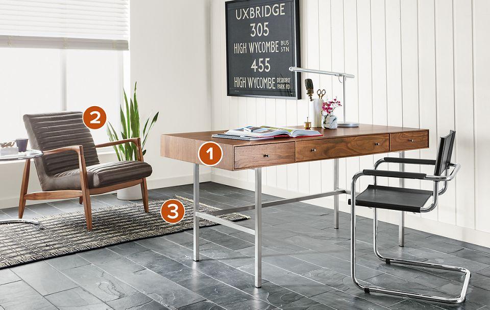 Hudson three-drawer wood desk in office