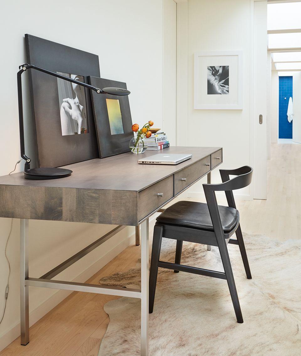 Side detail of Hudson desk in hallway
