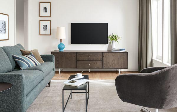 Hudson Media Cabinet in Bark Stain Modern Living Room Furniture
