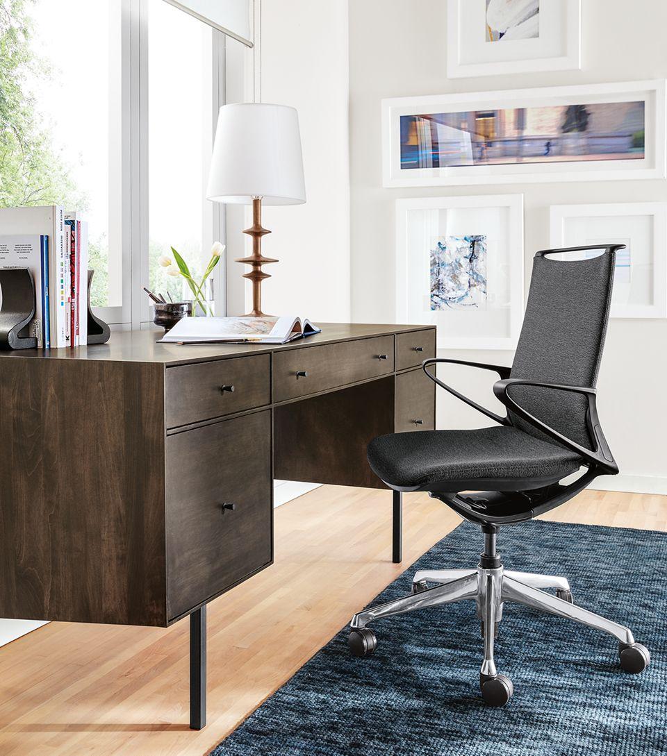Side detail of Hudson executive wood desk