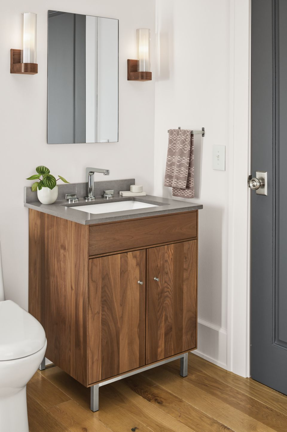 Side detail of Hudson vanity with grey top
