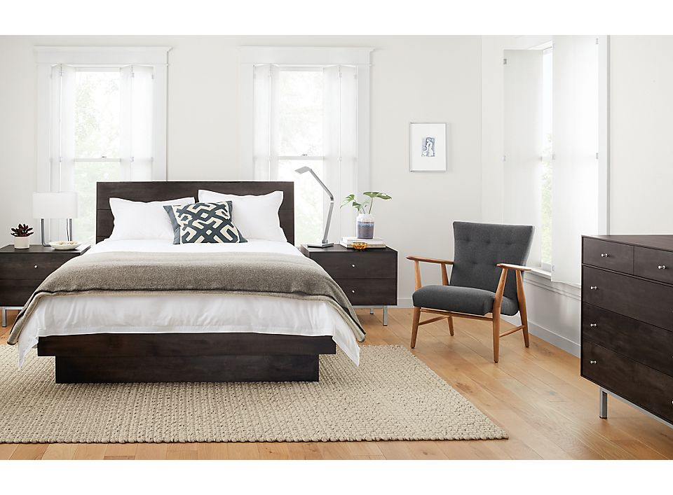 Front view of charcoal Hudson queen bed