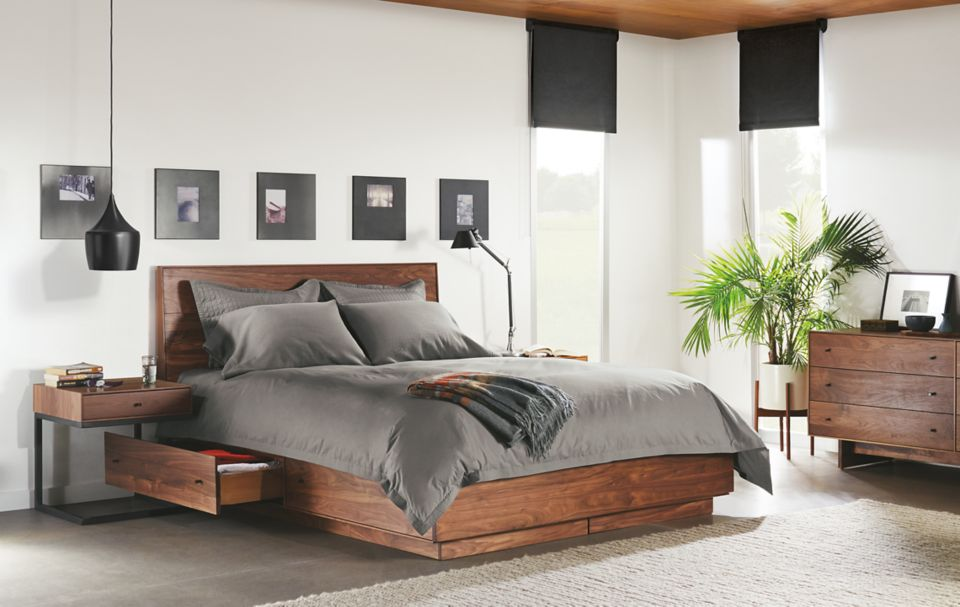 Hudson queen wood storage bed open drawer