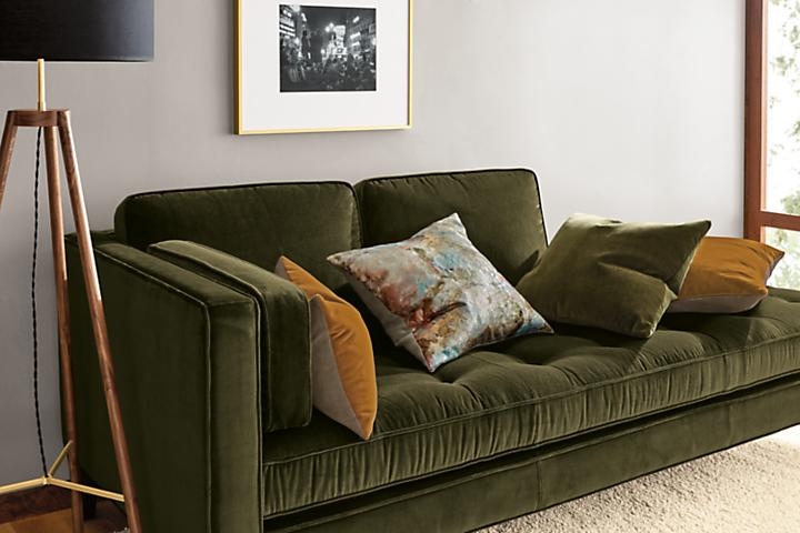 Detail of Hutton left-back sofa in vance olive