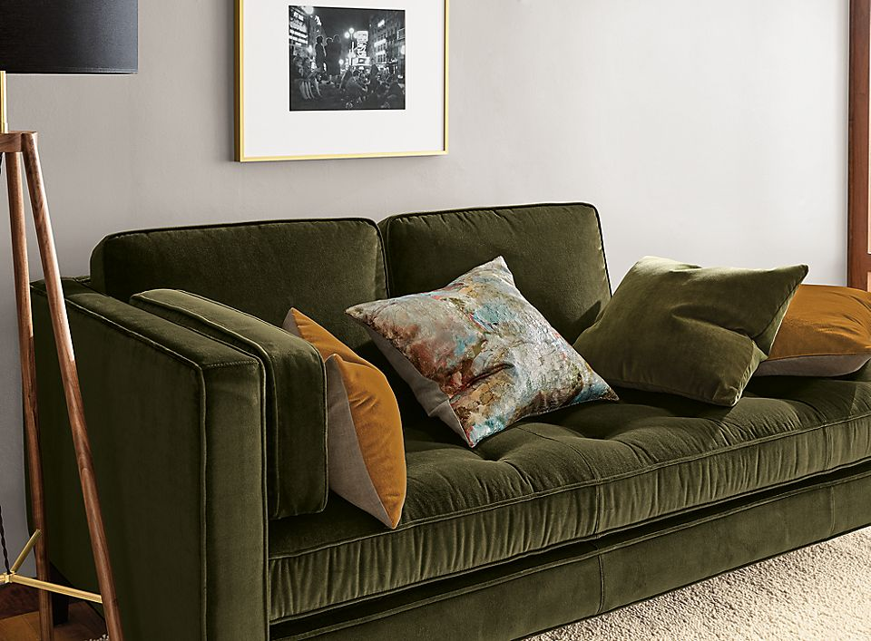 Detail of Hutton left-back sofa in vance olive