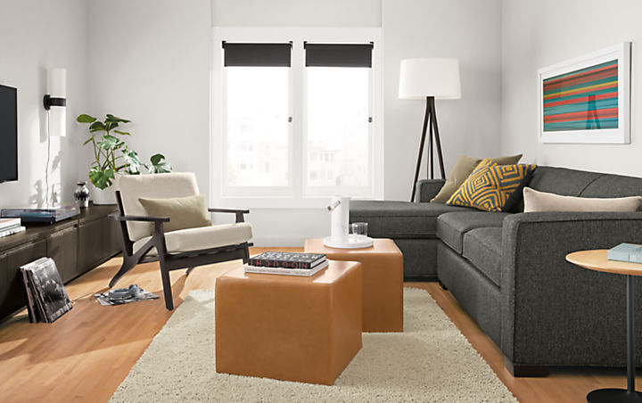 Detial of Ian 108-inch sofa with left-arm chaise