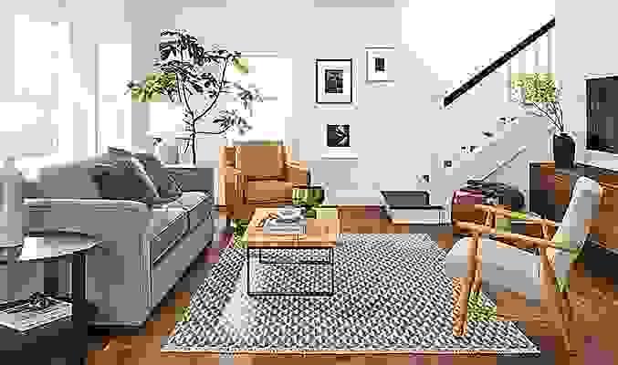 Detail of Ian 90-inch sofa in linen-like fabric