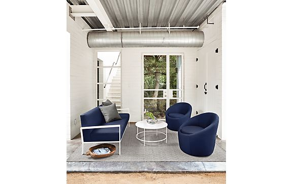 Isles Sofa & Crest Chairs in Sunbrella Navy