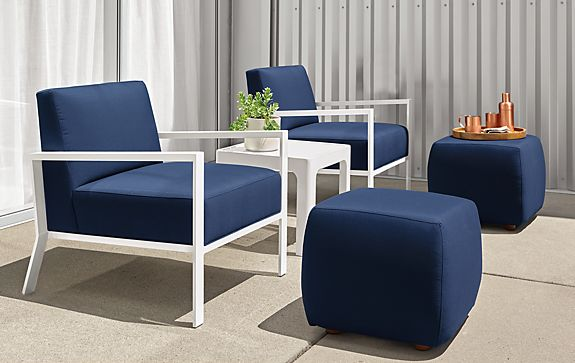 Isles Chairs with Lind Ottomans