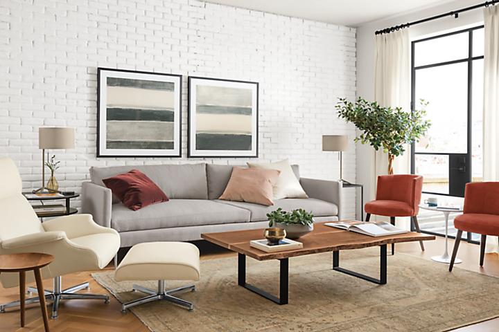 Detail of Janus two-cushion sofa