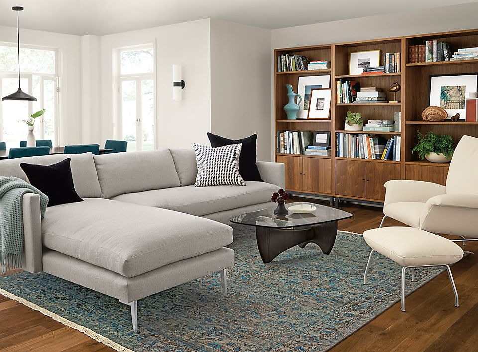 Detail of Janus sofa with left-arm chaise