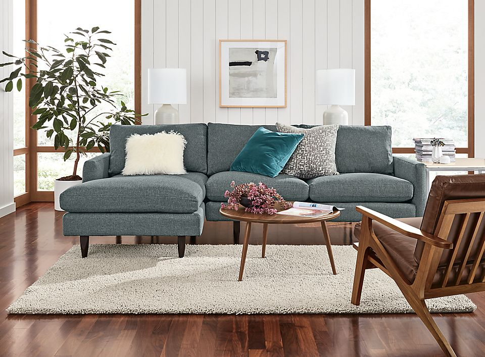Detail of Jasper sofa with left-arm chaise