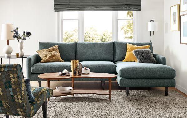 Jasper Sofa with Chaise : chaise in living room - Sectionals, Sofas & Couches