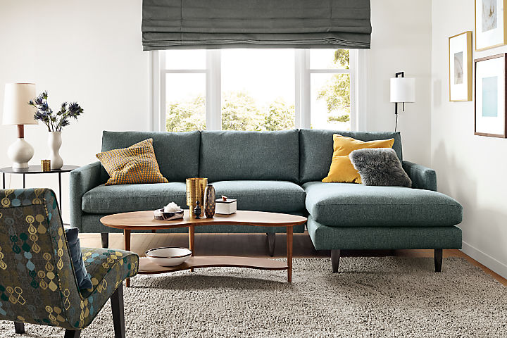 Detail of Jasper 104-inch sofa with chaise