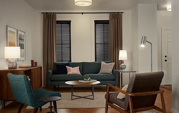 Living Room with Lighting Mix