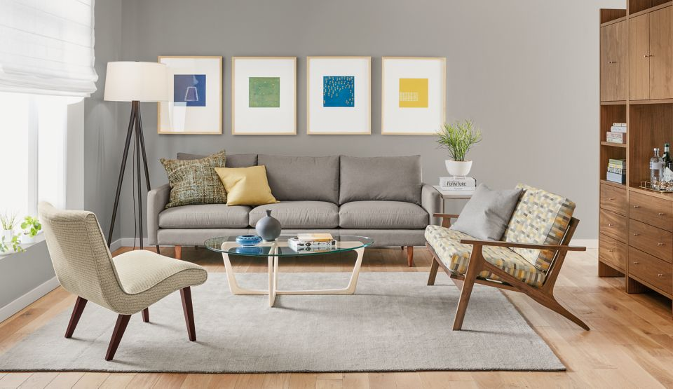 Detail of mid-century Jasper sofa