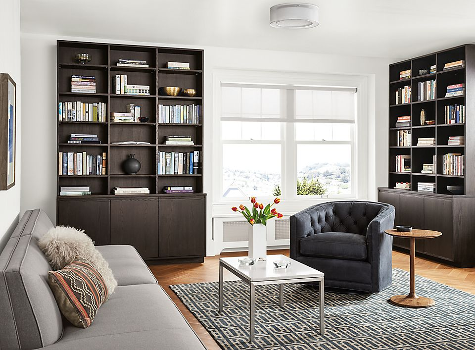 Detail of Keaton custom bookcases with doors