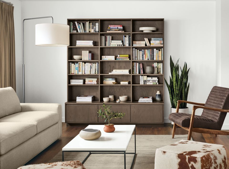 Front detail of custom Keaton bookcase