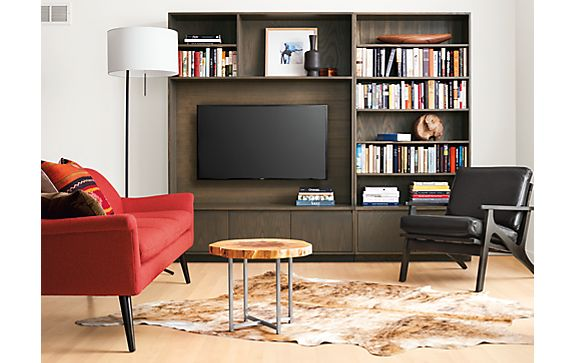 Keaton Media Wall Unit in Bark Stain - Modern Living Room Furniture ...