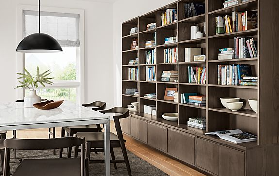 Keaton Custom Bookcases with Portica Table
