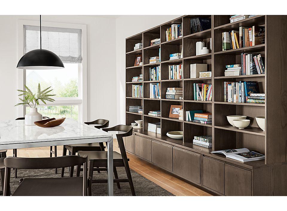 Side detail of Keaton custom bookcases