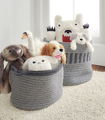 Detail of stuffed animals in Kori baskets