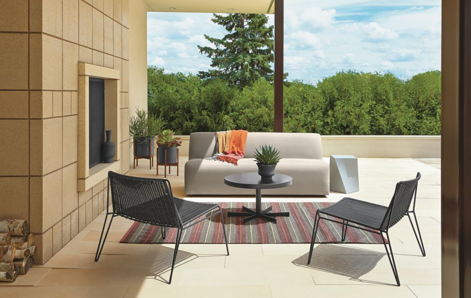 Detail of Laguna outdoor sofa in Sunbrella fabric