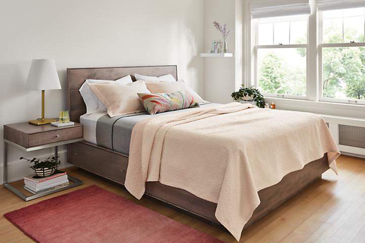 Bedroom with Larkin coverlet in blush