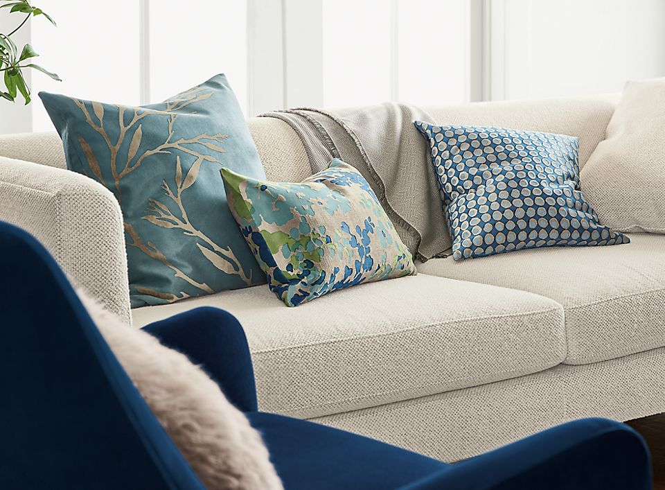 Detail of Liana outdoor pillow in blue