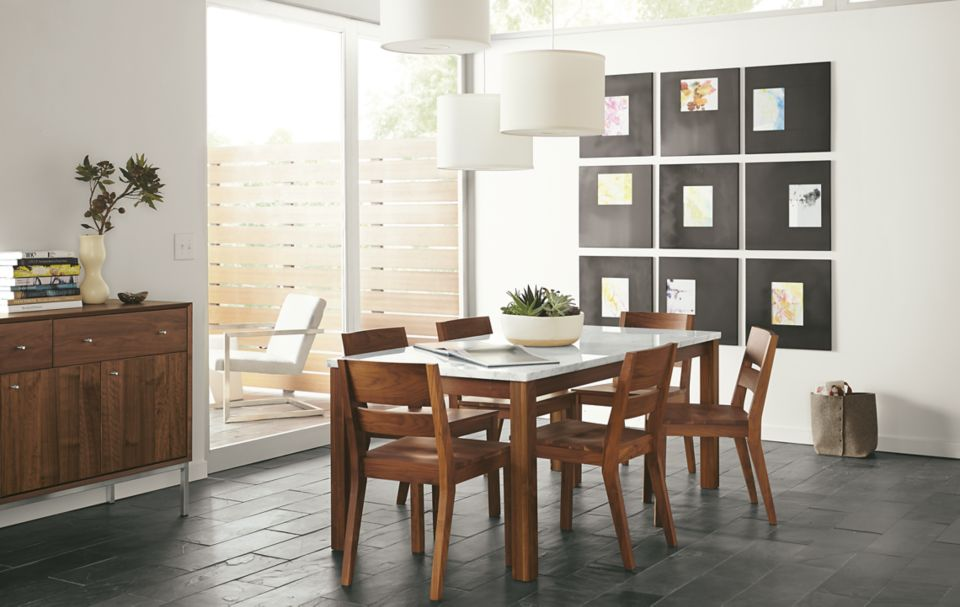 Linden wood and stone dining table