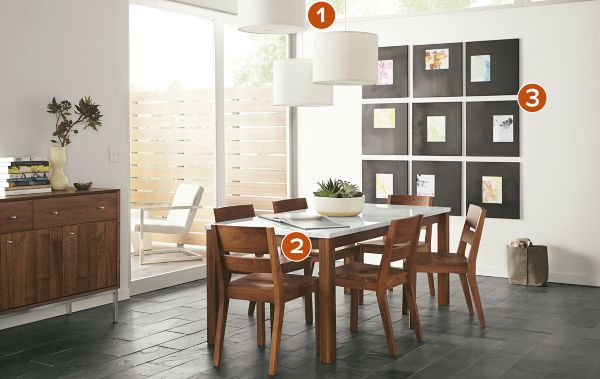 Linden Table with Afton Chairs in Walnut Modern Dining Room