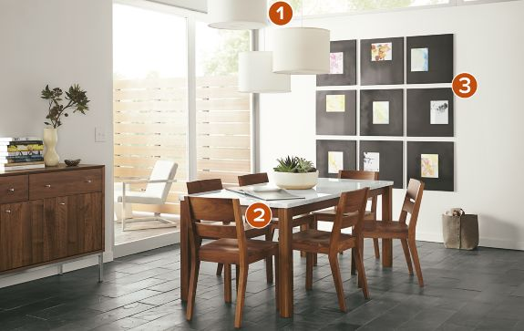 linden table with afton chairs in walnut - modern dining room
