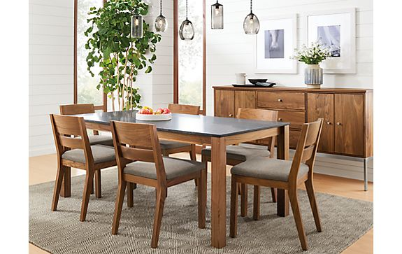 Linden Dining Table and Linear Cabinet