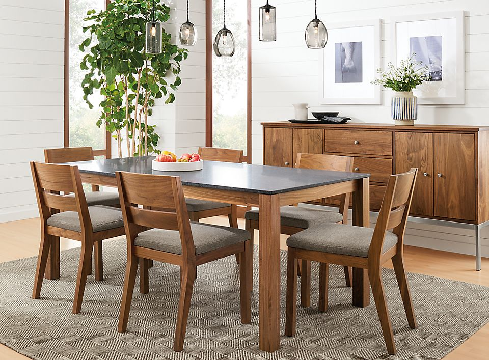 Detail of Linden table and Afton chairs
