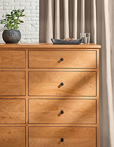 Detail of Linear eight-drawer dresser