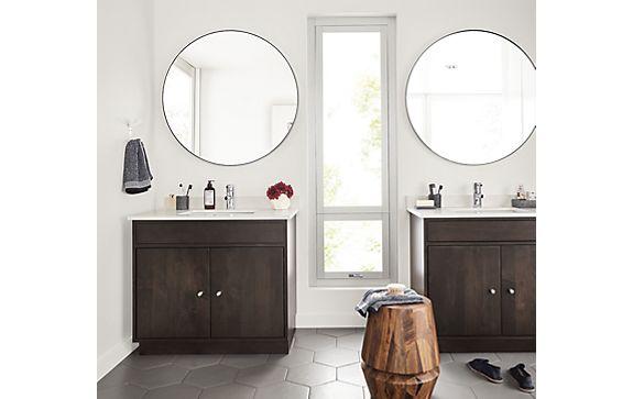 Bathroom with Linear Vanities & Infinity Mirrors