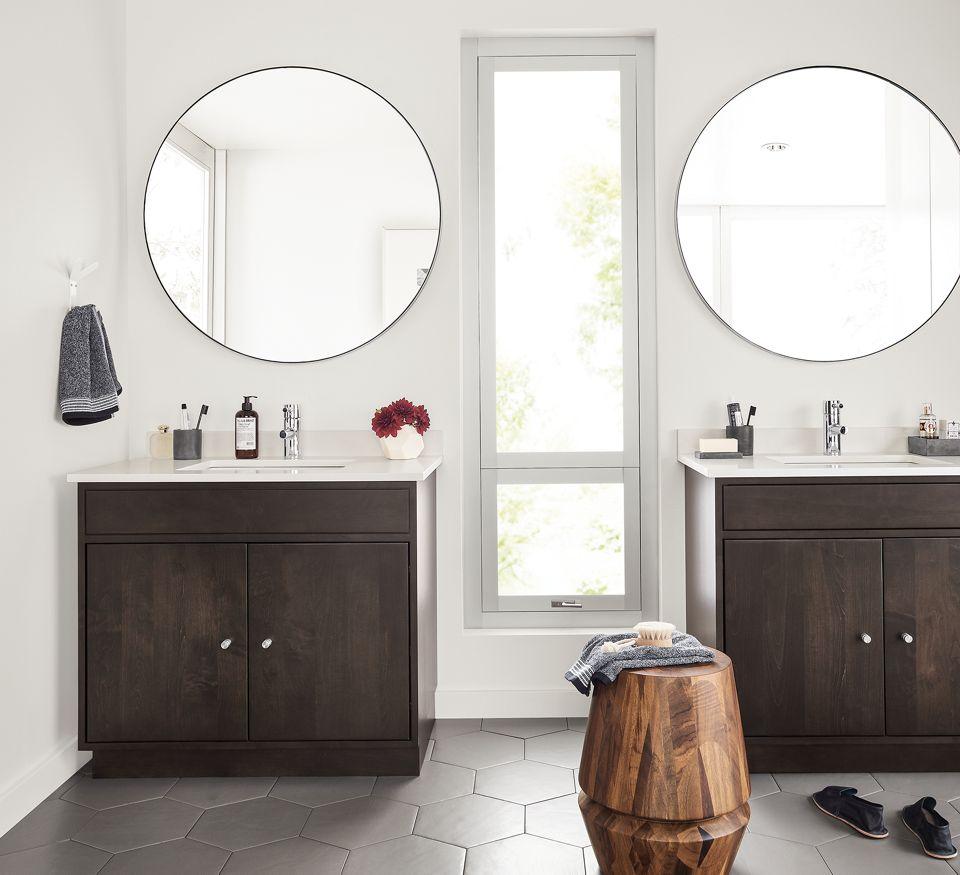 Detail of two Linear vanities in bathroom