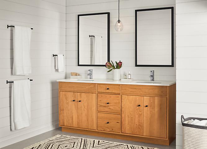 Detail of Linear two-sink vanity in cherry