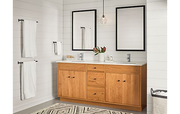 Bathroom with Linear Vanity in Cherry