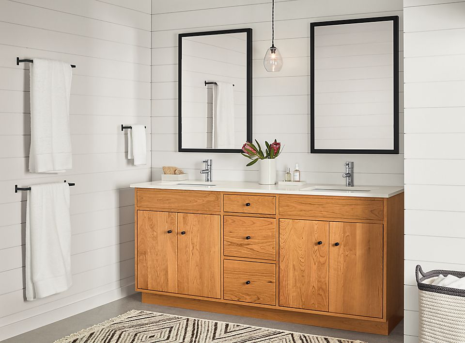 Detail of Linear two-sink vanity in cherry