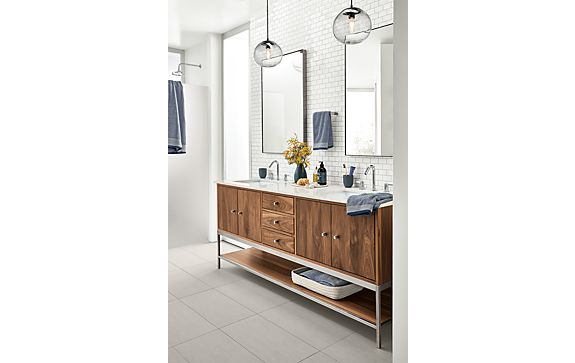 Linear Double-Sink Vanity in Walnut