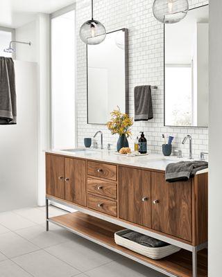 Detail Of Double Sink Walnut Linear Vanity