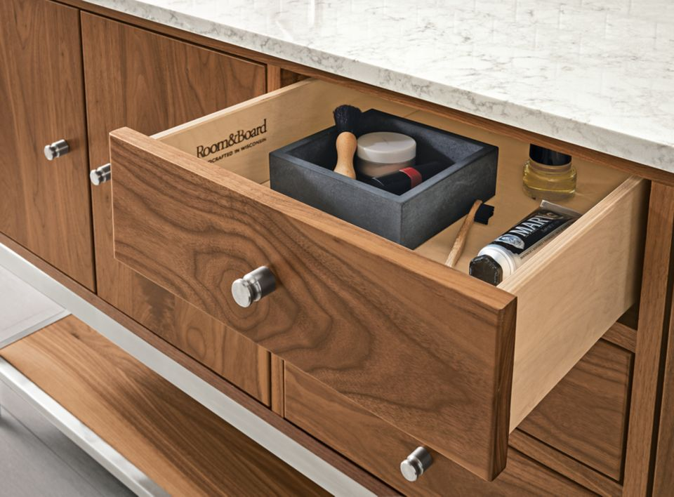 Close detail of Linear vanity drawer open
