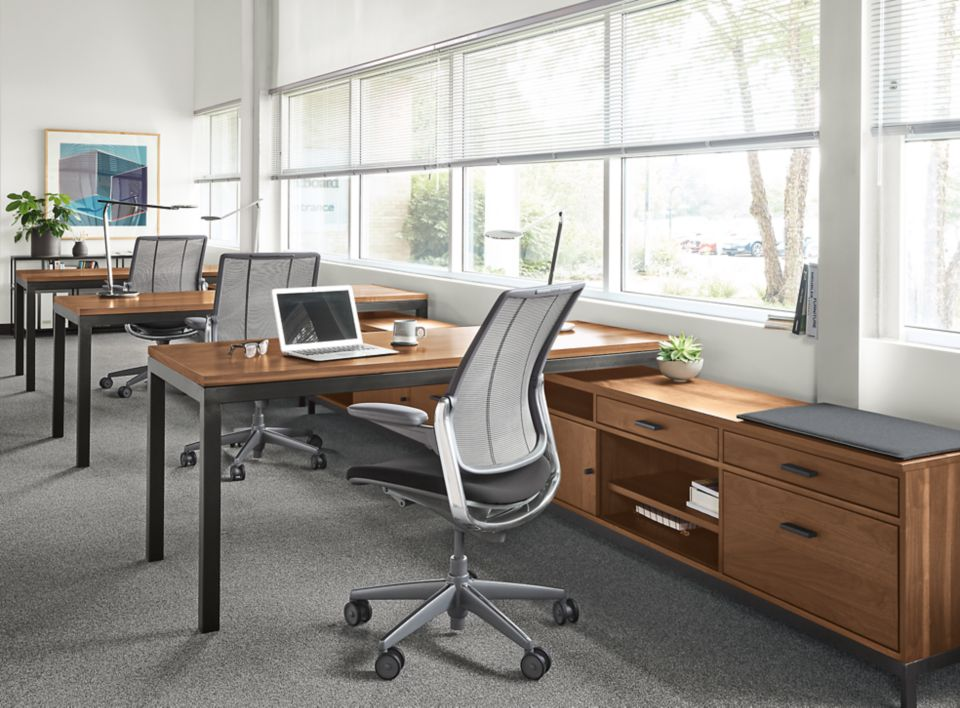Linear righ-file drawer office benching