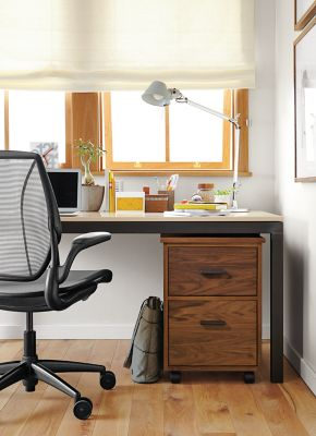 Parsons Desk With Linear Rolling File Cabinet