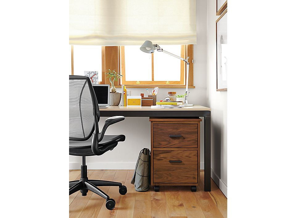 Parsons Desk With Linear Rolling File Cabinet Room Amp Board