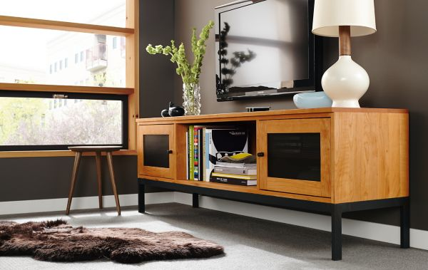 Linear Media Cabinet In Cherry